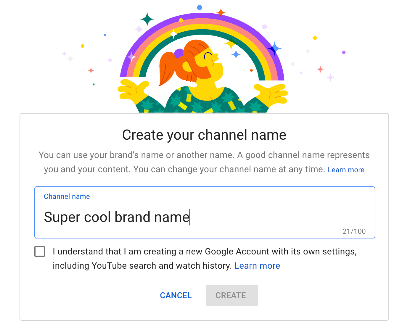 Creating a name for your YouTube channel