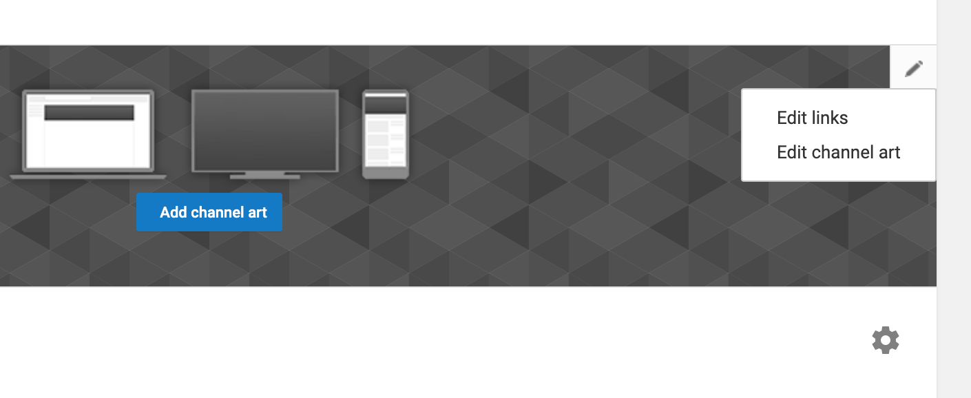 """Edit links"" will appear when you hover over the edit icon in your YouTube channel art."