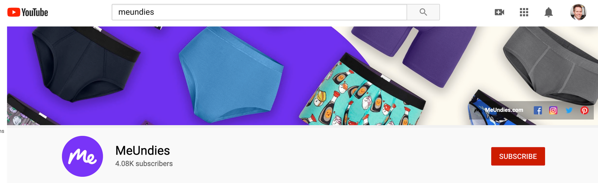 MeUndies links to their homepage and four social profiles in their YouTube banner