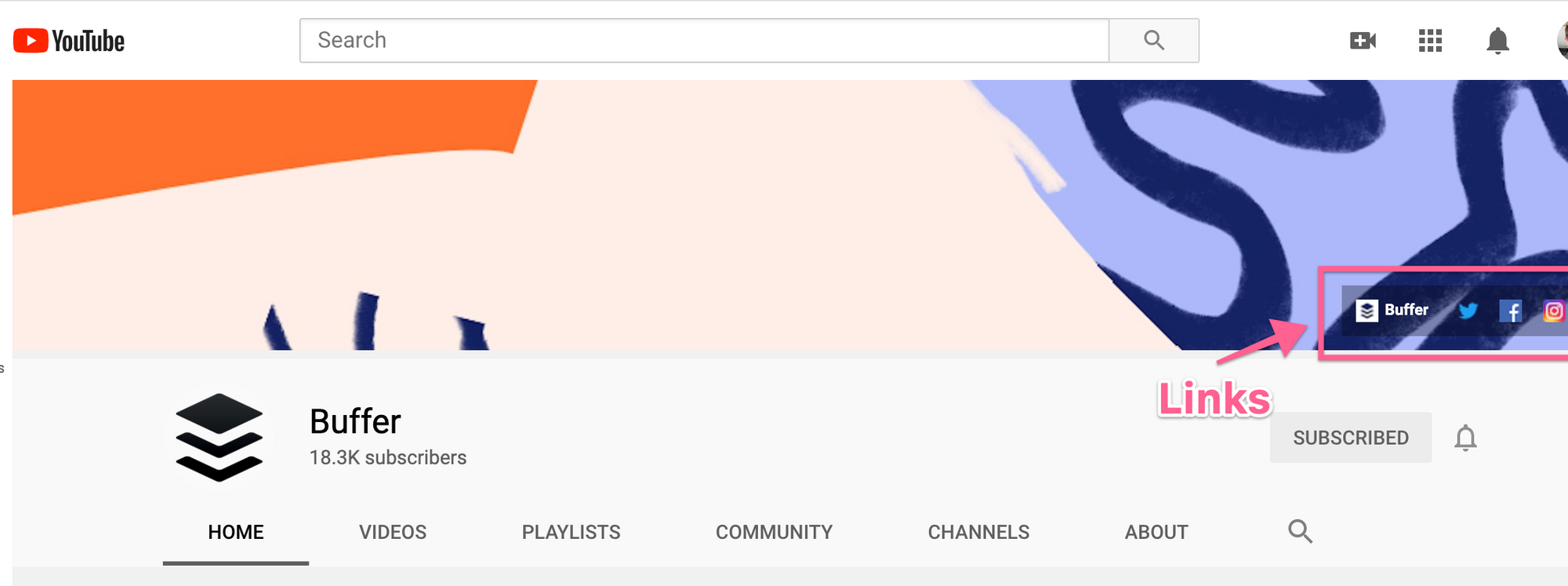 Where links appear on YouTube channel art