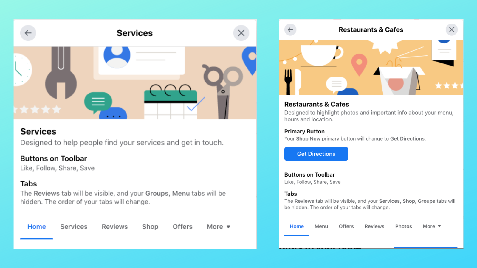 Examples of Facebook Business Page templates: Services and Restaurants & Cafes.