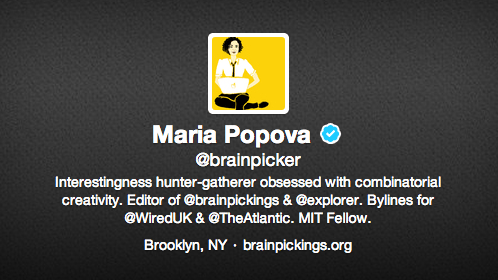 Maria Popova Twitter bio