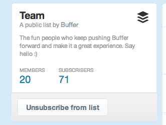 Buffer team Twitter list
