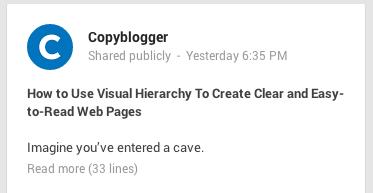 Copyblogger headline Google+ 2 lines