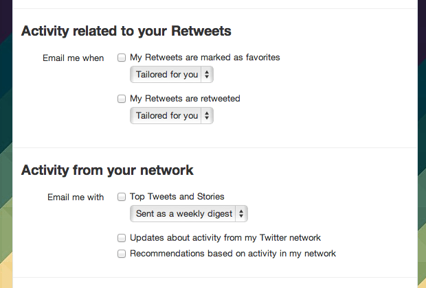 Twitter email options