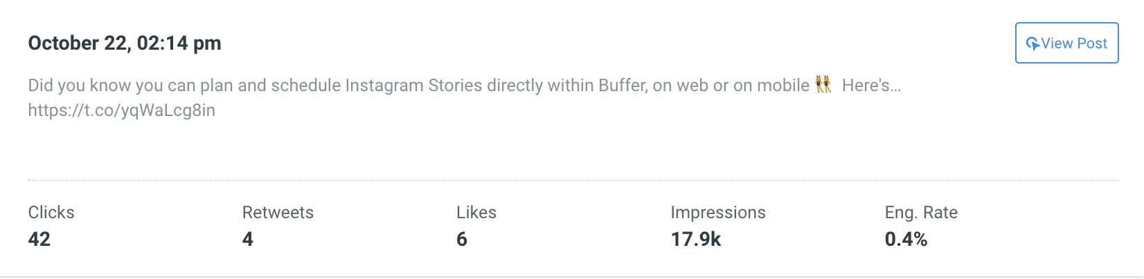 Post stats in Buffer Analyze