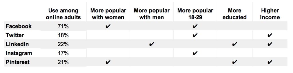 social network demographic categories