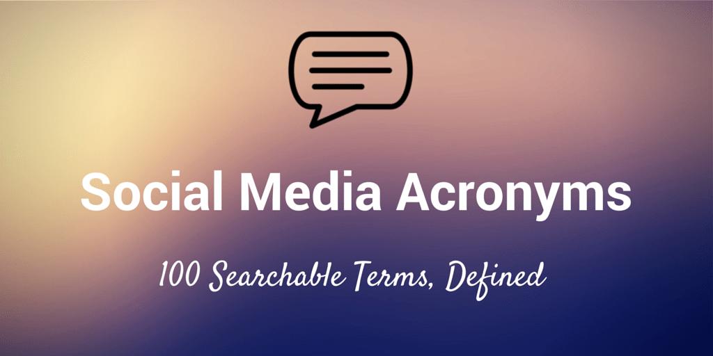social media acronyms abbreviations