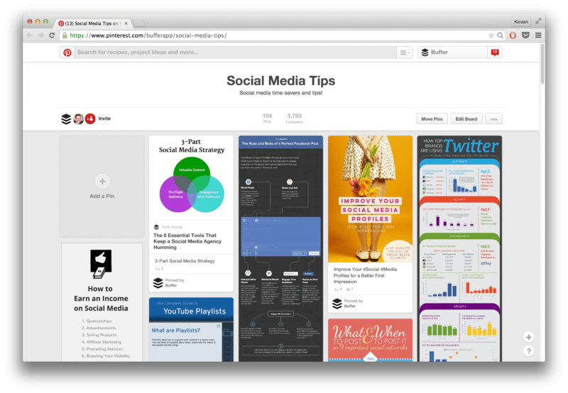 Buffer Pinterest book board