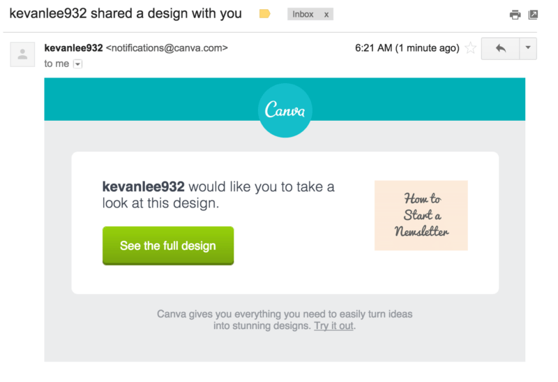 Canva design email