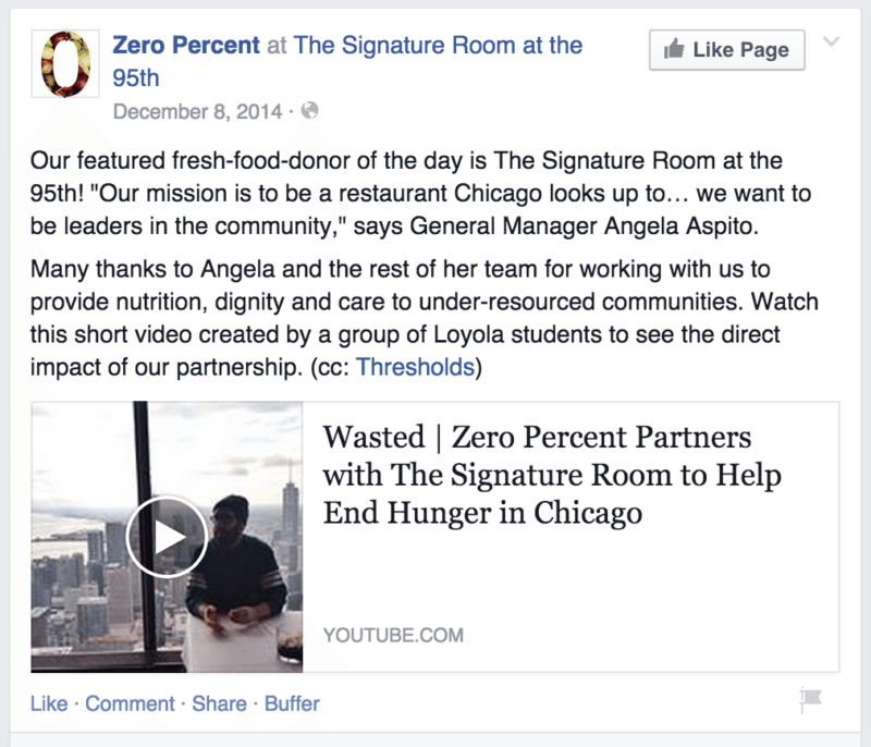 Donor of the Day - Zero Percent, Facebook