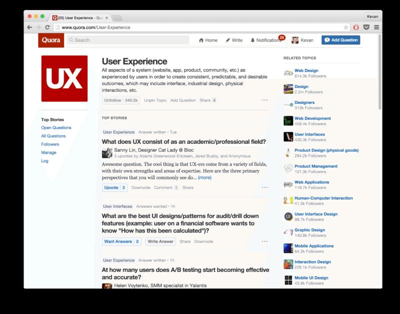 Quora topic - User Experience