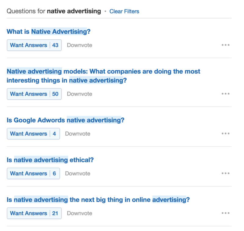 native advertising Quora headline search