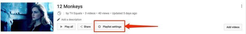 YouTube Playlist Settings