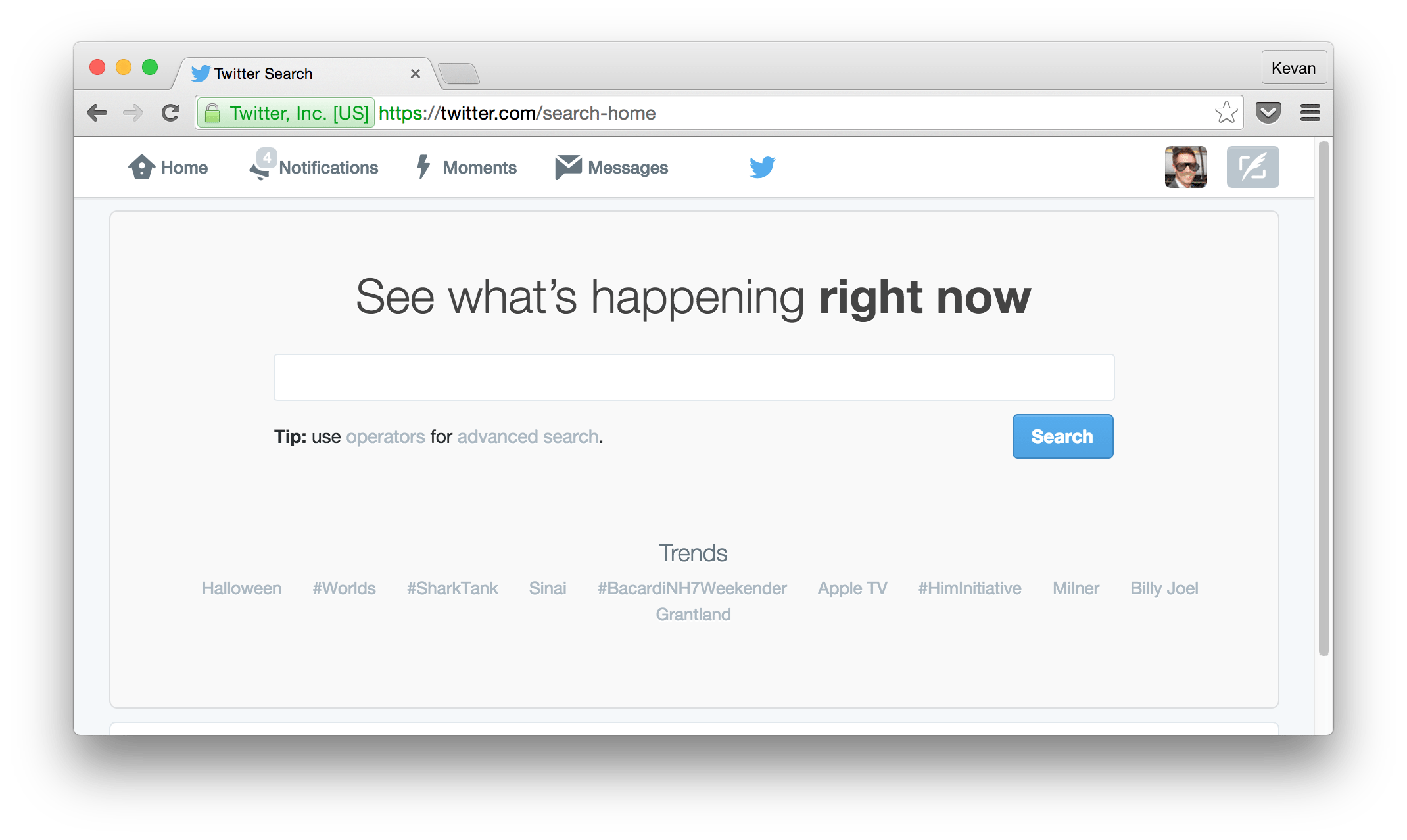 Twitter search web page