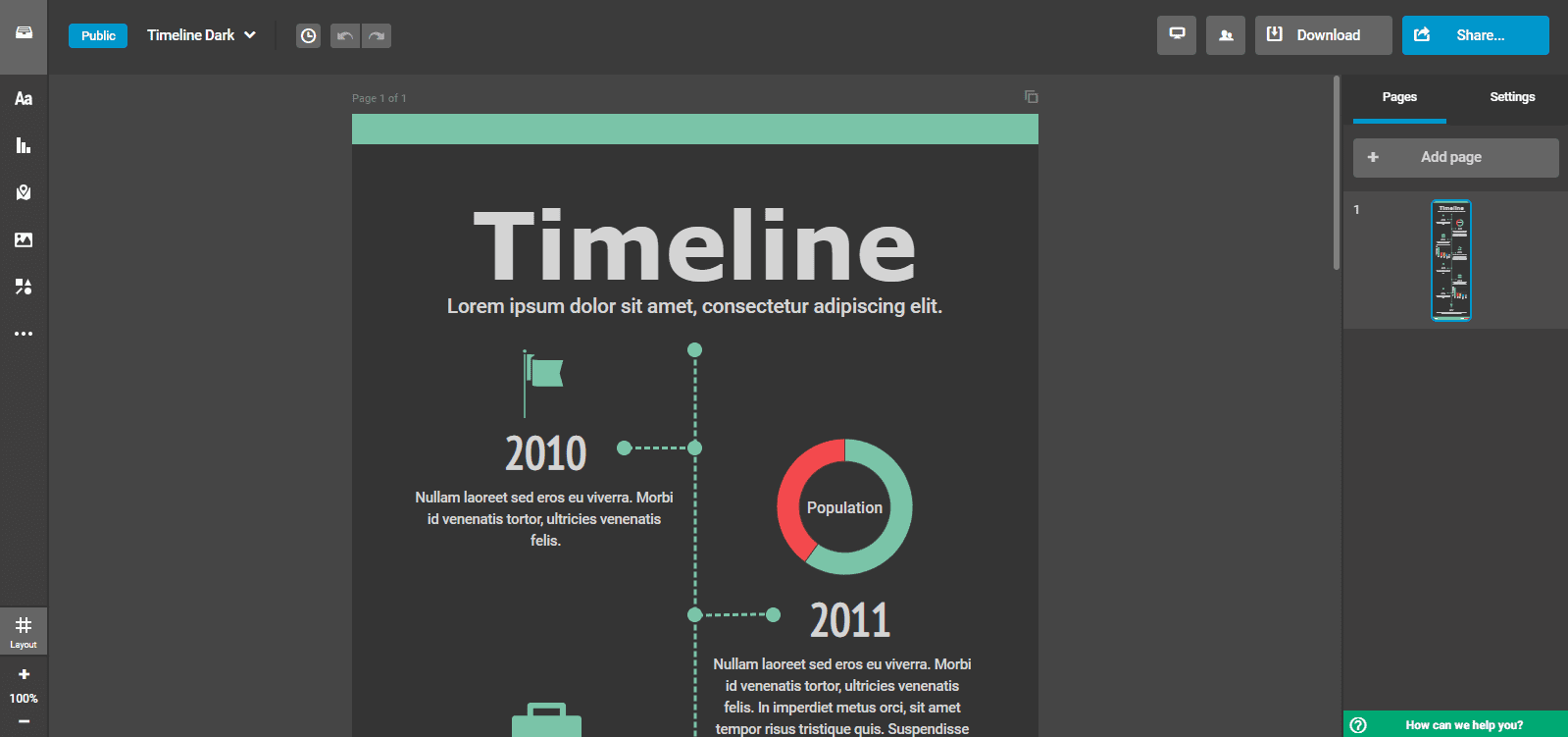 Infographic maker: Infogram dashboard