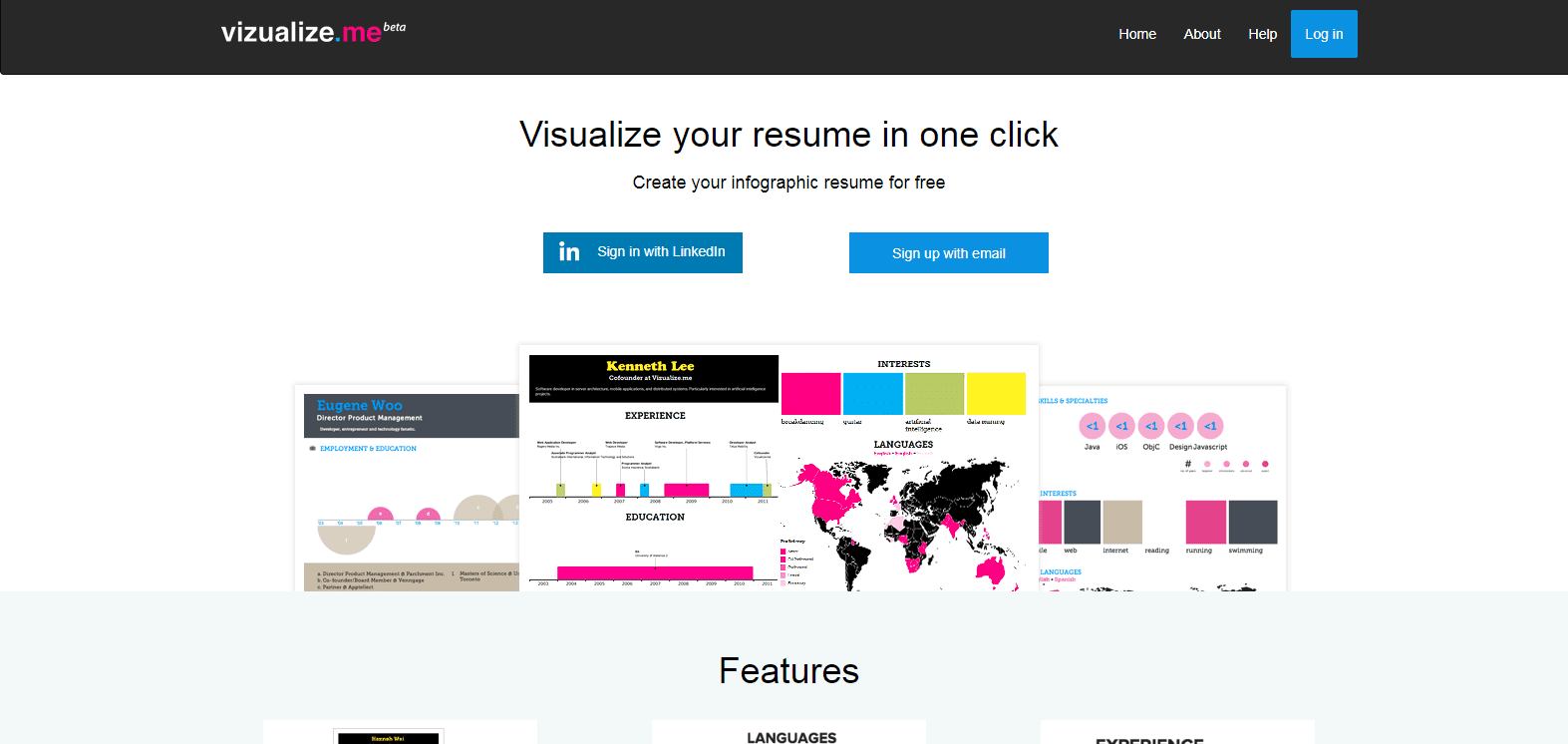 Infographic maker: Visualize.me
