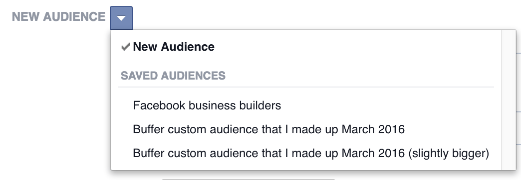Facebook ads choose existing audience