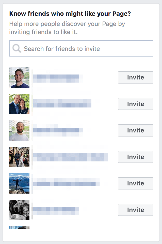 Invite friends to like your Facebook Page