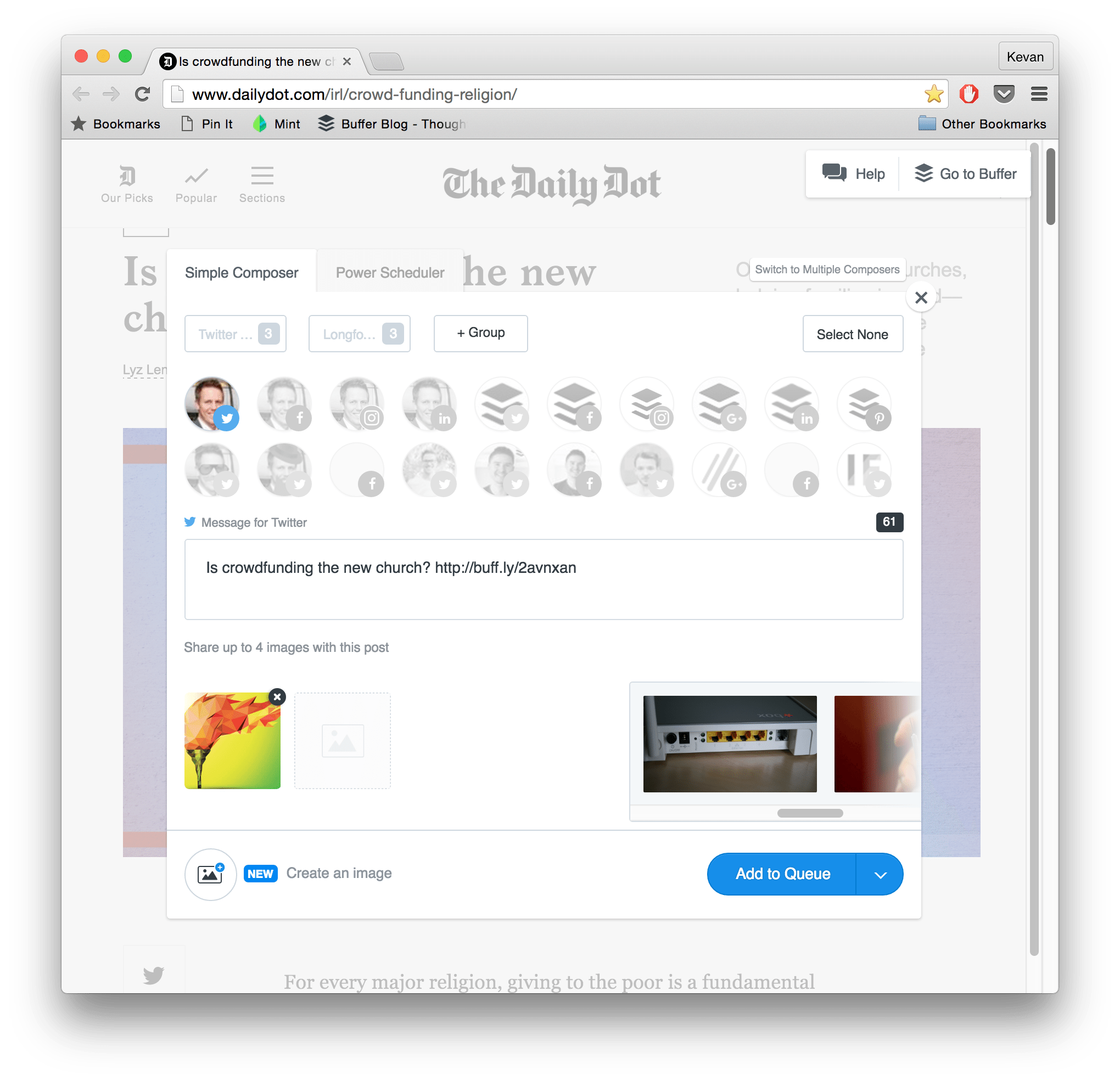 buffer extension for content curation