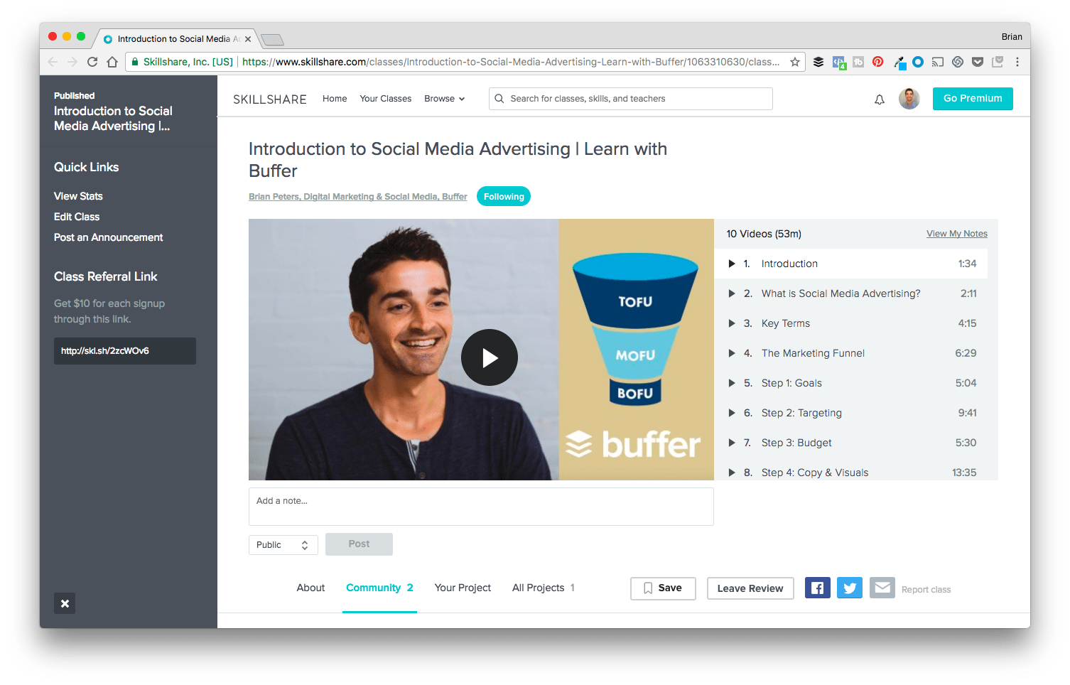 Introduction to Social Media Advertising - Buffer Class