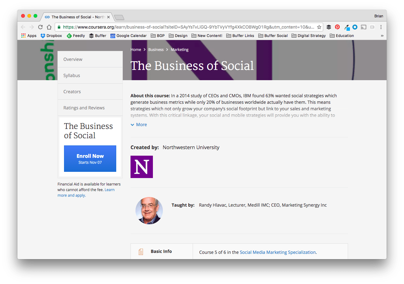 The Business of Social Course