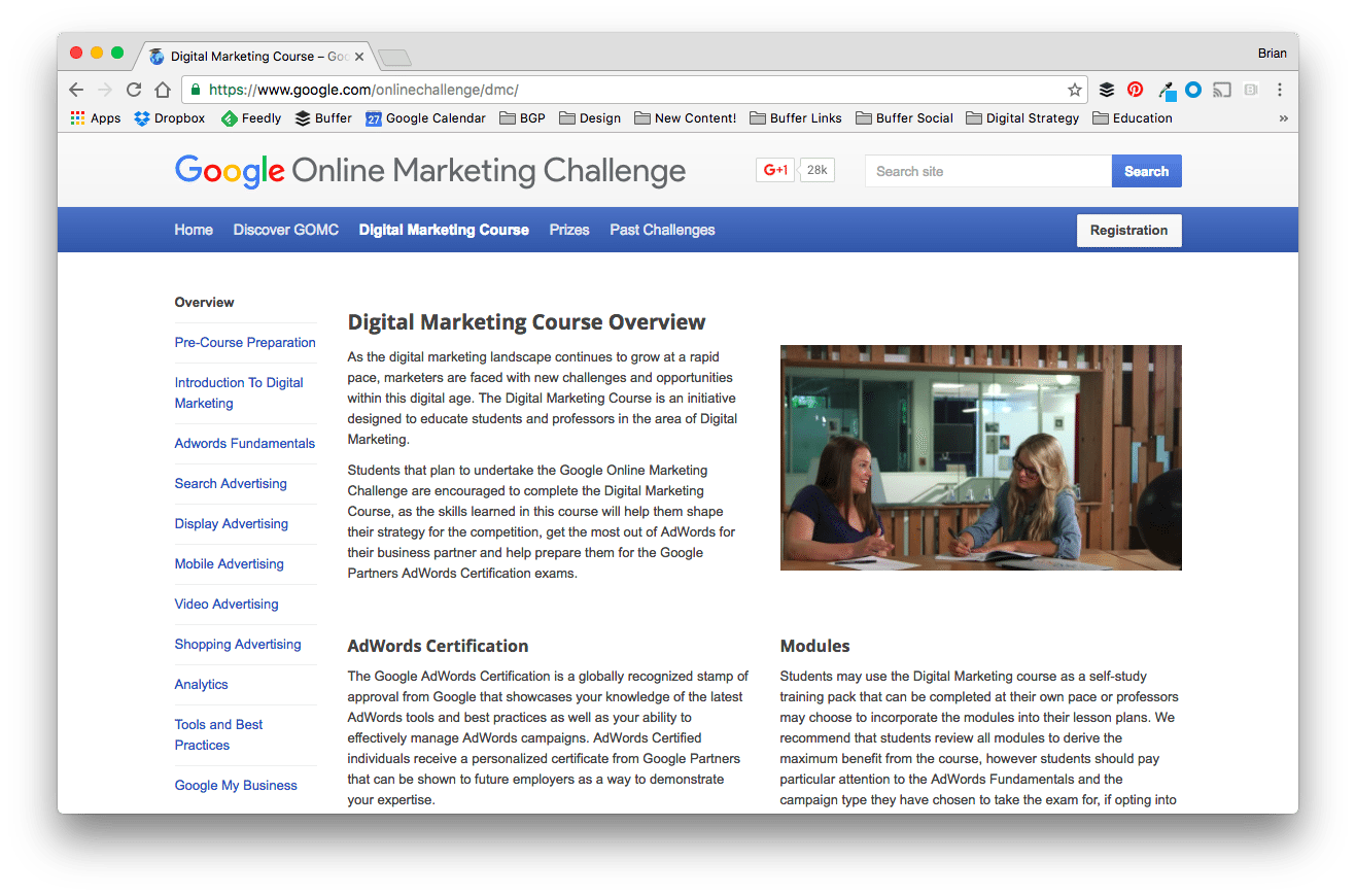 Google Online Marketing Challenge, Google Digital Marketing Course