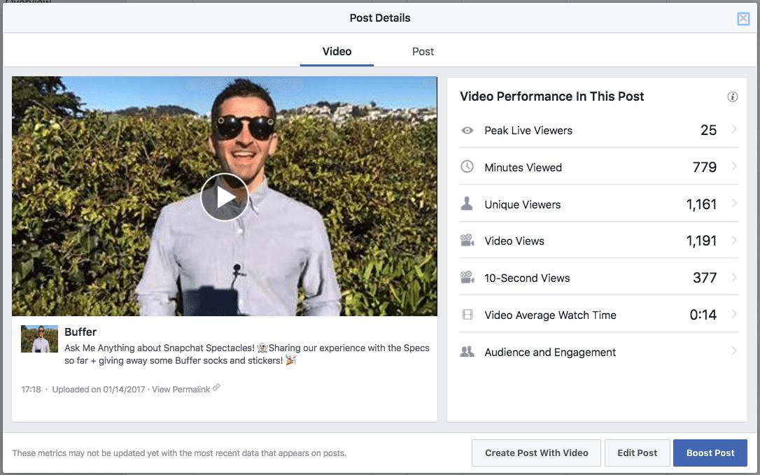 Facebook Live metrics example