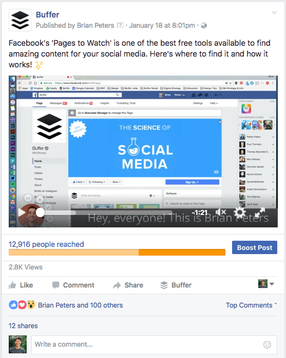 Facebook video example