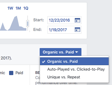 Facebook video metrics options