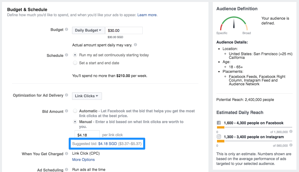 San Francisco - Suggested bid $4.18