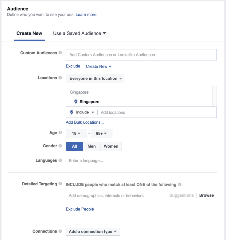 Facebook ads manager audience selection