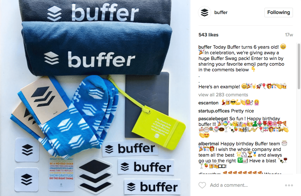 Buffer Instagram giveaway contest