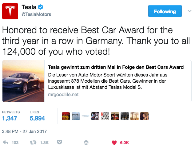 Tesla showing appreciation on Twitter