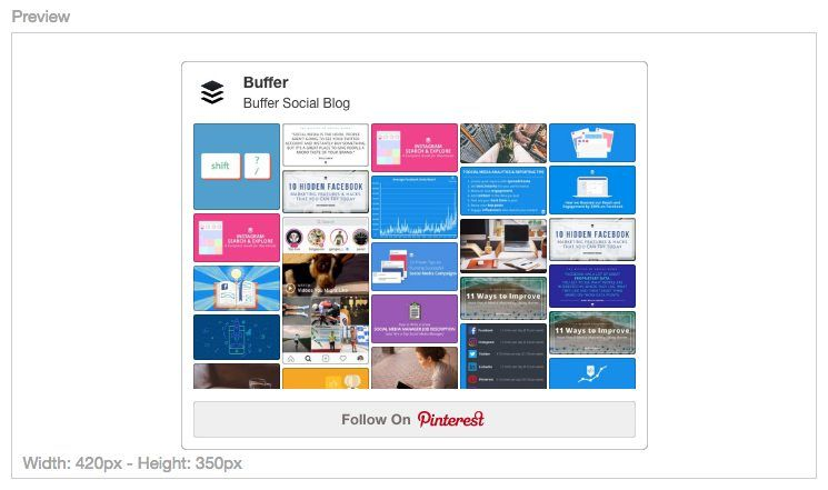 Pinterest Board Widget Preview