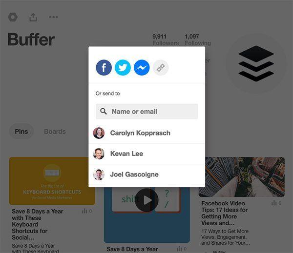 Pinterest Share Options