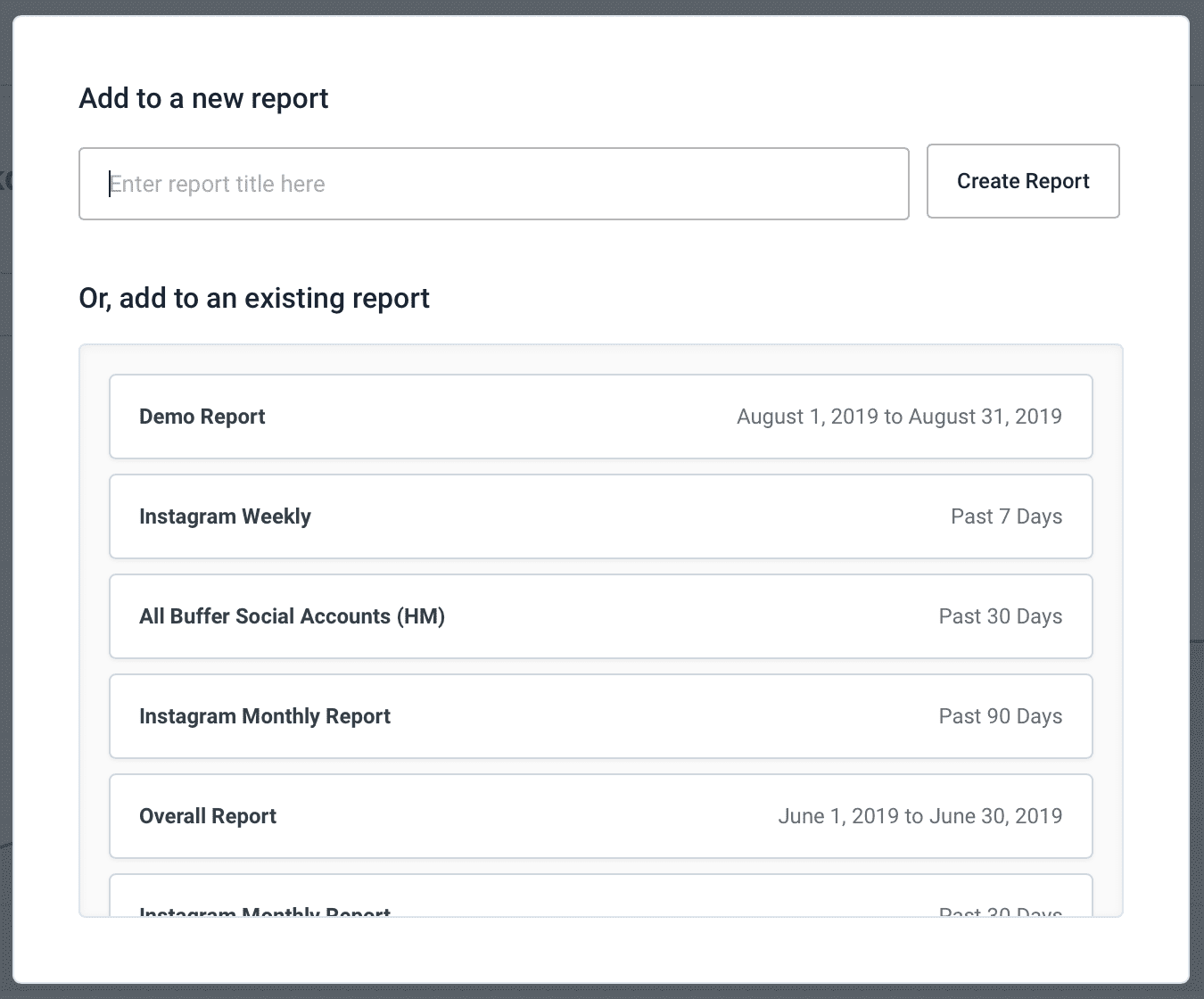 Creating a report in Buffer Analyze