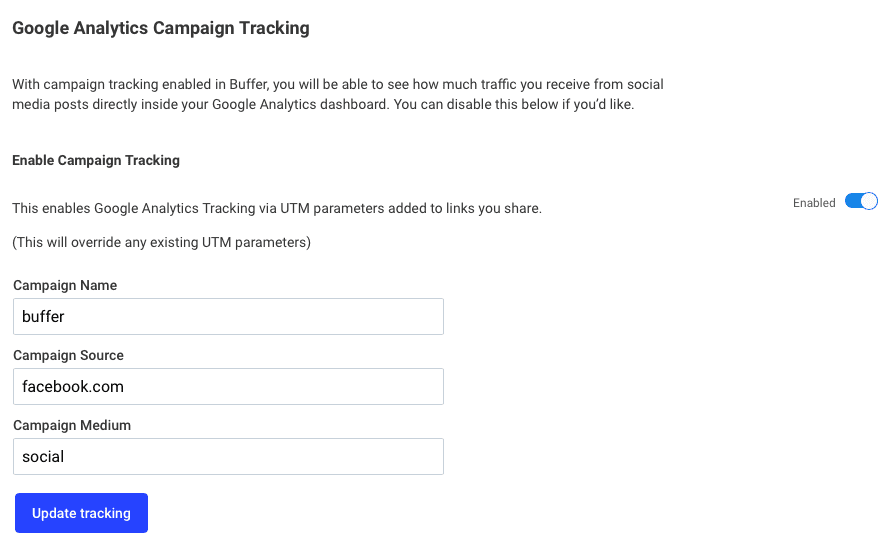 Buffer Publish: Campaign tracking