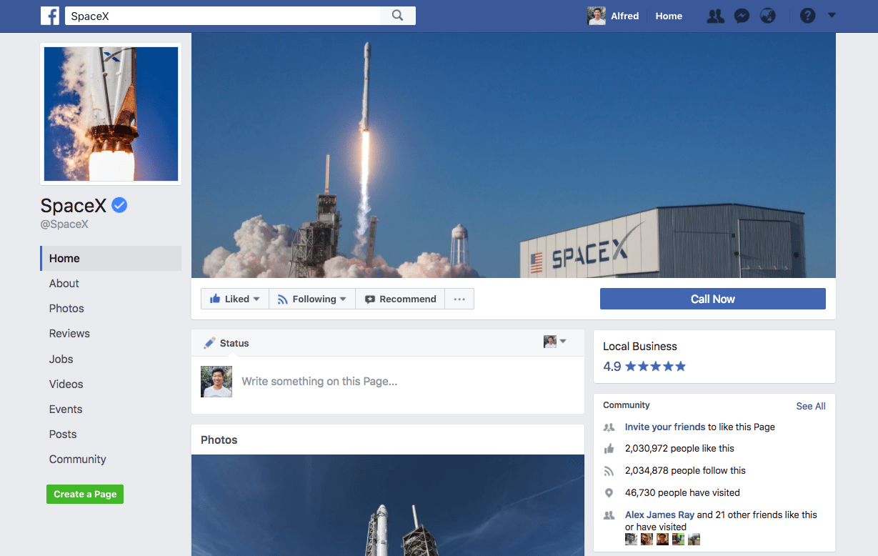Facebook cover photo on computer