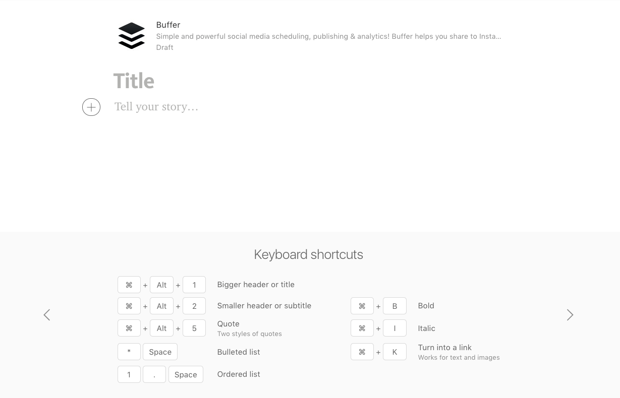 Medium Keyboard Shortcuts