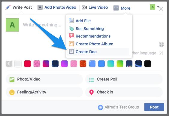 Create Facebook document