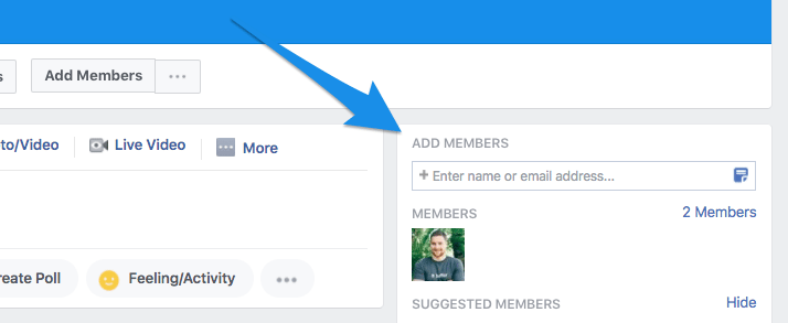 Facebook group - Add members