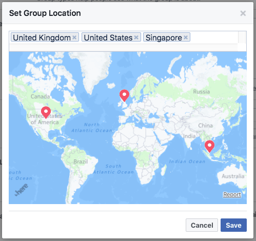 Facebook group locations