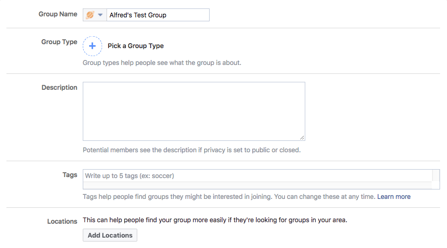 Facebook group settings