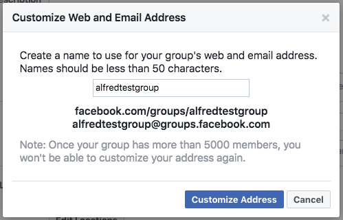 Facebook group URL