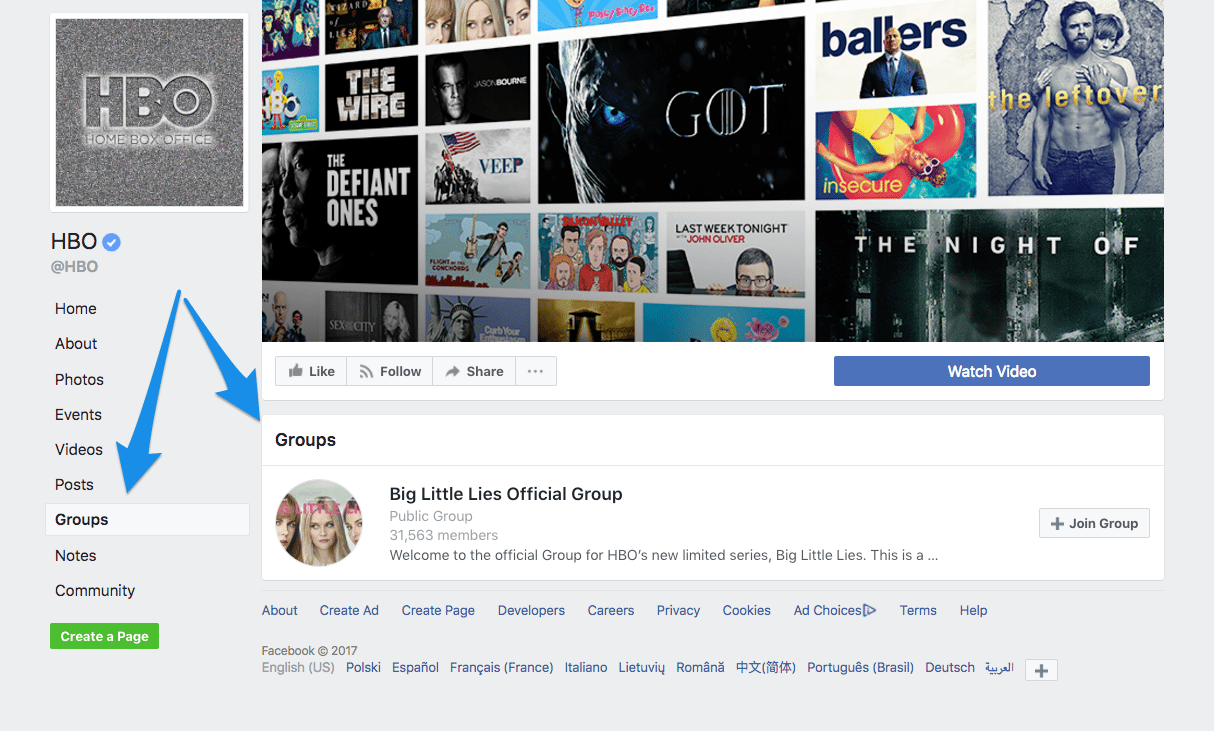 HBO Facebook Page and group