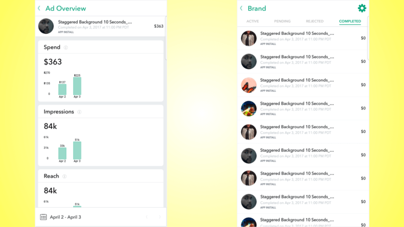 Snapchat Mobile Dashboard