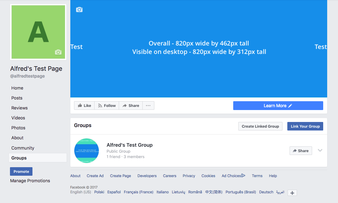 Test Facebook Page and group