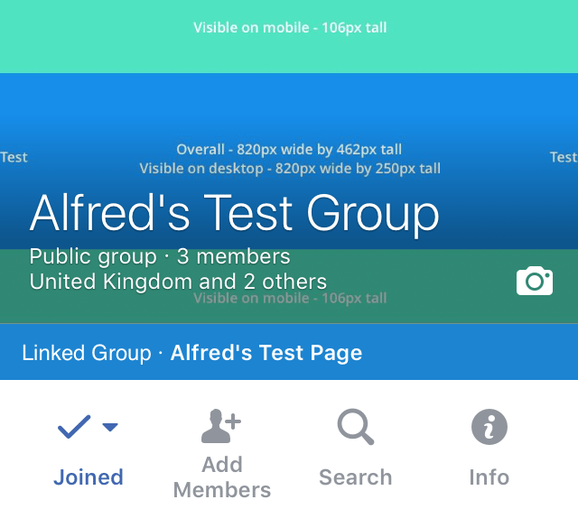 Facebook Group cover photo on mobile