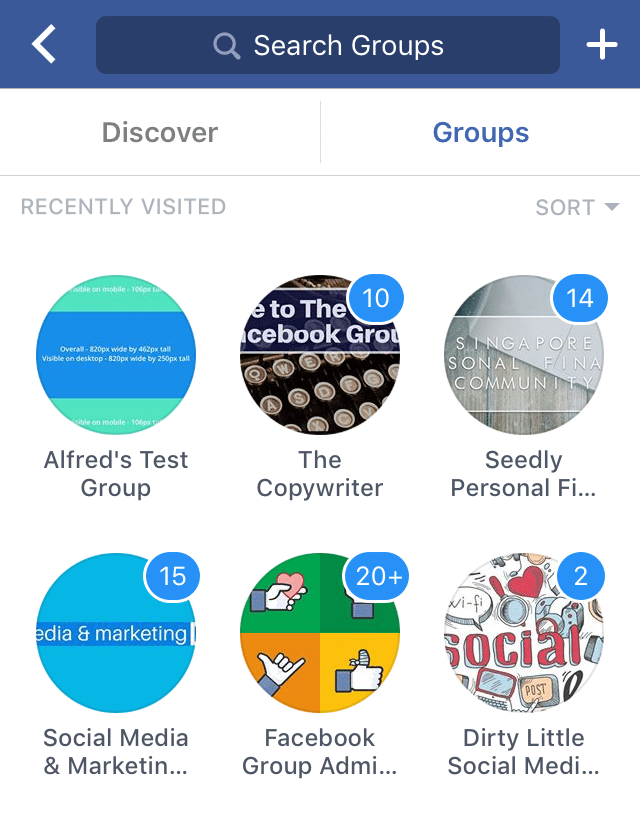 Facebook Groups on mobile app